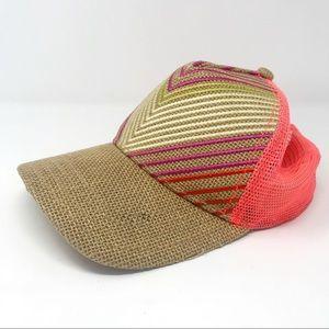 Prana Delilah coral chevron burlap trucker hat